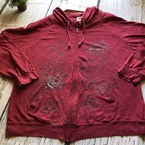 Harley Davidson full zip hooded top..wine..XL